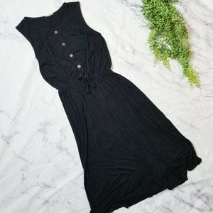Pinc Black Jersey Knit Button Front Maxi Dress